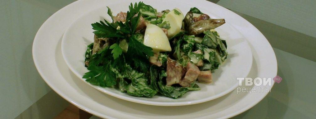 Салат со шпинатом и шампиньонами - Рецепт