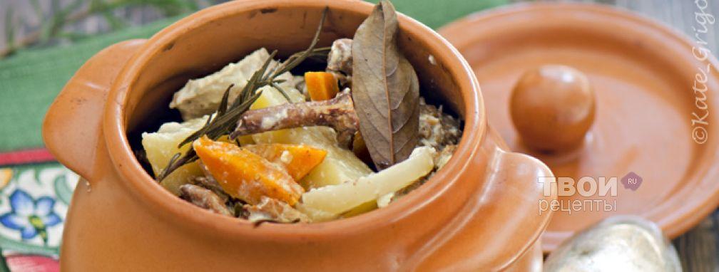 Филе индейки в горшочках с овощами и лисичками - Рецепт