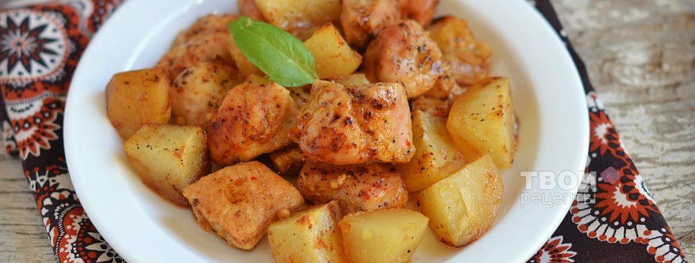 Куриная грудка, запеченная с картофелем и яблоками - Рецепт