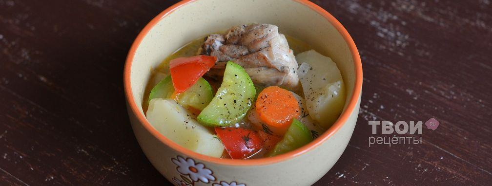Курица, тушеная с картофелем и овощами - Рецепт