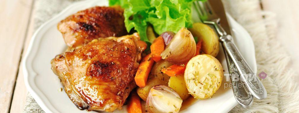 Курица в кофейной глазури, запеченная с овощами - Рецепт