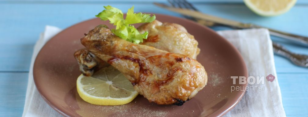 Курица, запеченная с лимоном в вине - Рецепт