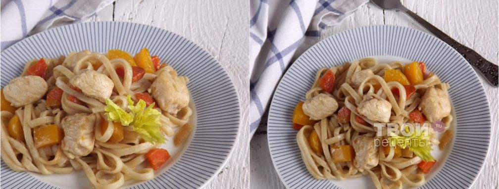 Лапша удон с курицей и овощами - Рецепт