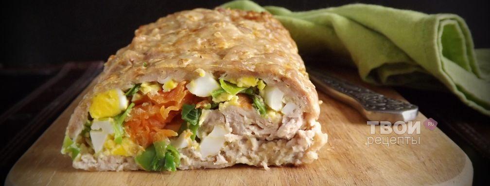 Мясной рулет с яйцом и морковью - Рецепт