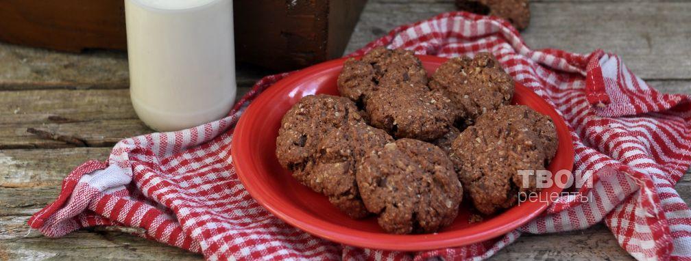 Овсяное печенье с кусочками шоколада - Рецепт