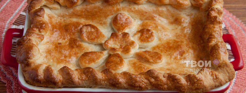 Пирог с грибами и ветчиной - Рецепт