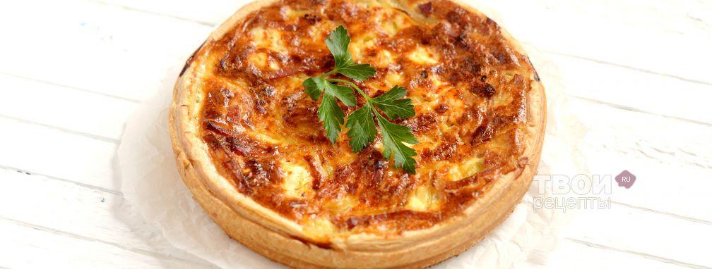 Пирог с луком, фетой и ветчиной - Рецепт