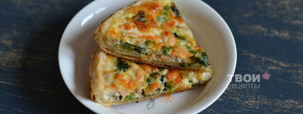 Пирог с семгой и шпинатом - Рецепт
