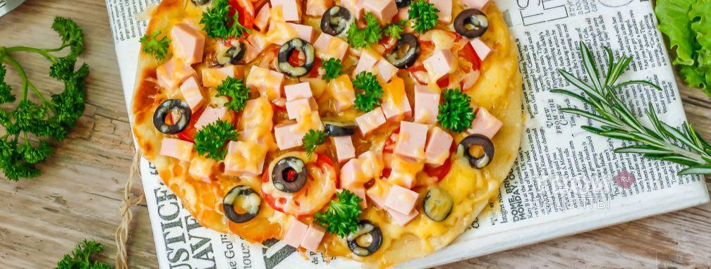 Пицца на кефире на сковороде - Рецепт