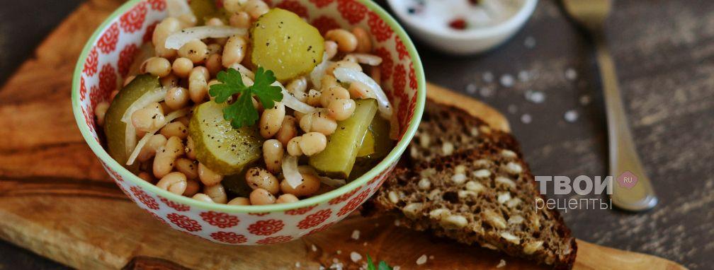 Салат с огурцами и фасолью - Рецепт