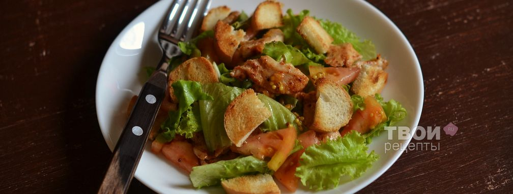 Салат с курицей и сухариками - Рецепт