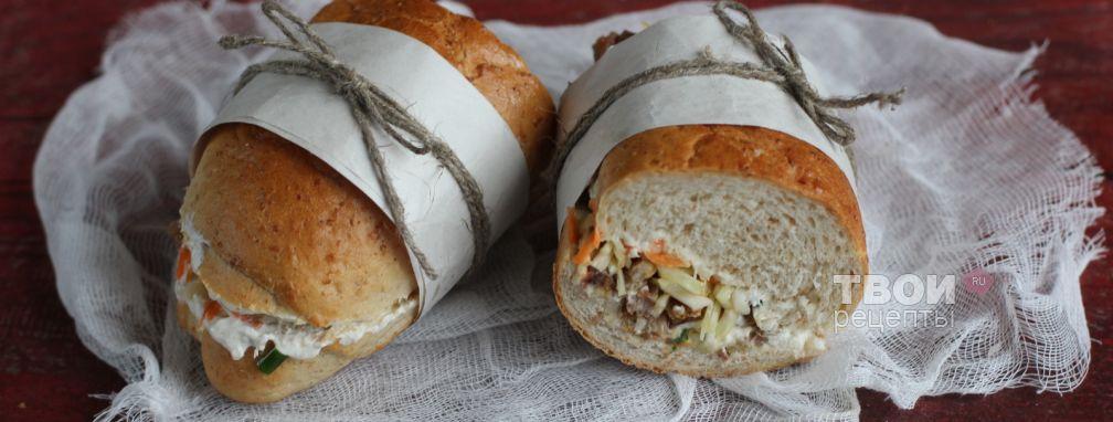 Сэндвич с мясом и капустой - Рецепт