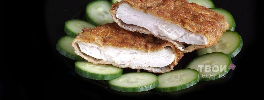 Шницель из куриной грудки в лимонно-чесночной панировке - Рецепт