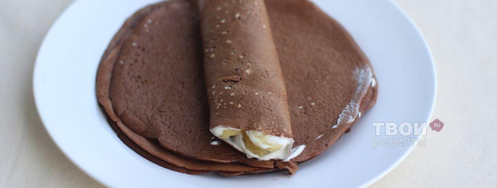 Шоколадные блинчики с бананом - Рецепт