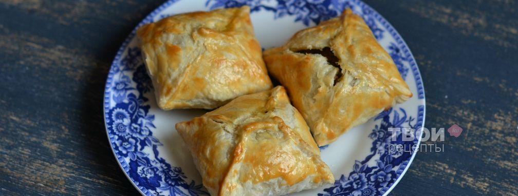 Слоеные пирожки с куриной печенью - Рецепт