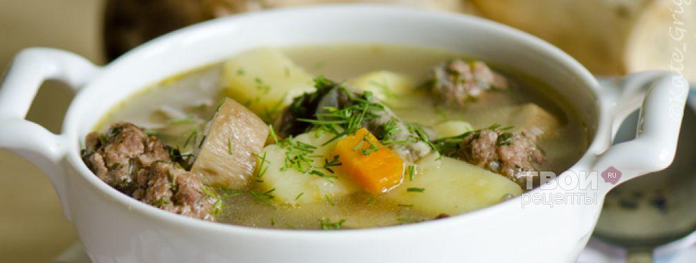 Суп из белых грибов с фрикадельками - Рецепт