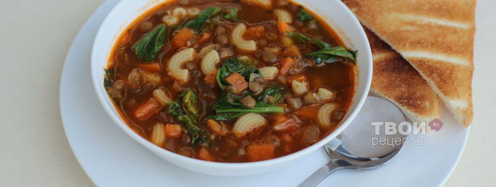 Суп из чечевицы с пастой и шпинатом - Рецепт