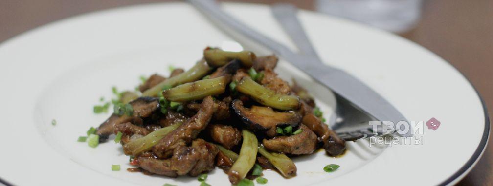 Свинина с фасолью и грибами в соевом соусе - Рецепт