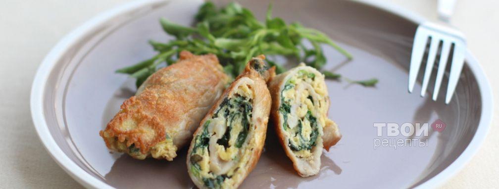 Свинина со шпинатом и яйцом - Рецепт