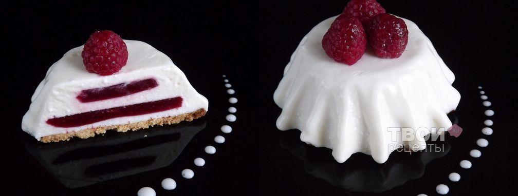 Творожный десерт с малиновым желе - Рецепт