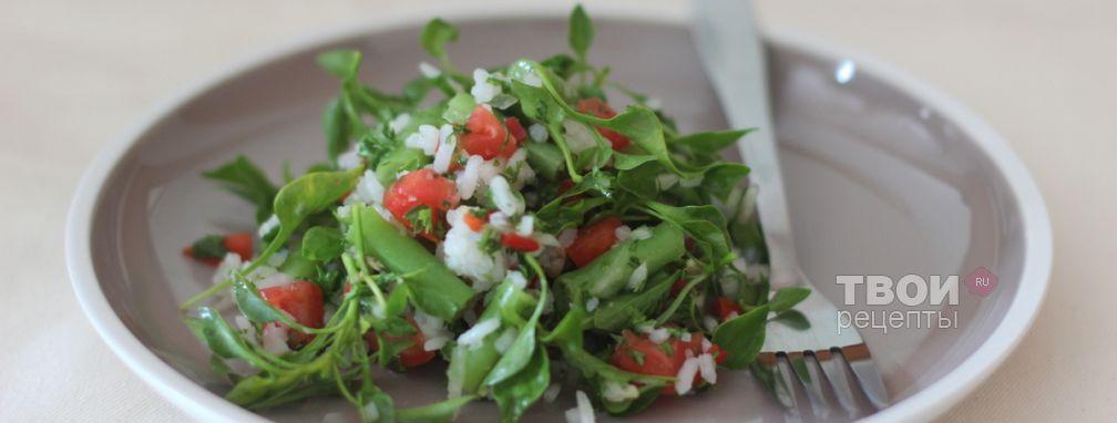 Зеленый салат с рисом - Рецепт