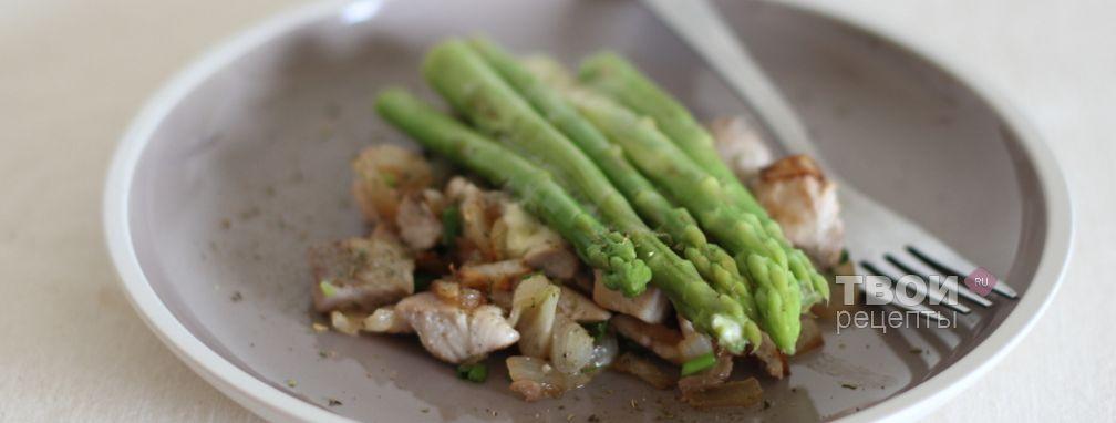 Жареная рыба со спаржей - Рецепт