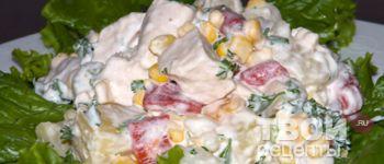 Салат с ананасами и курицей - Рецепт