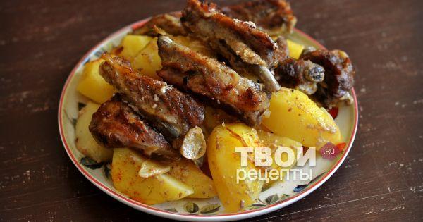 Свиные ребрышки с картофелем в духовке пошаговый рецепт с
