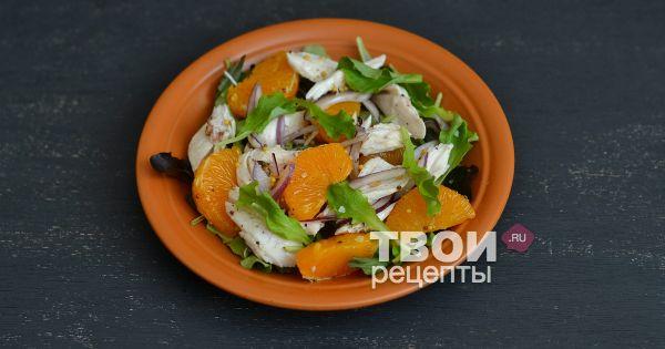 Фото рецепт салата с курицей и мандаринами