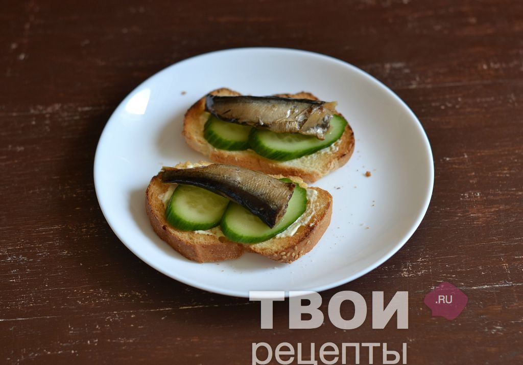 Шпроты бутерброды с пошагово
