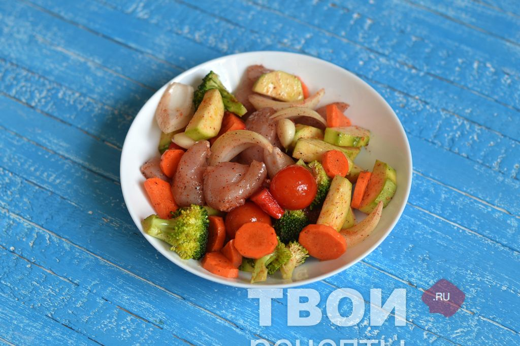 Овощи с грудкой рецепт
