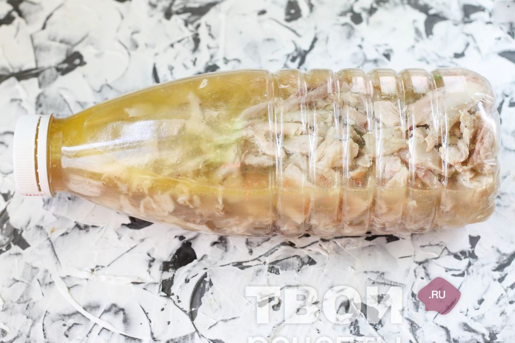 Рецепт рулет из курицы с желатином в бутылке рецепт с пошагово