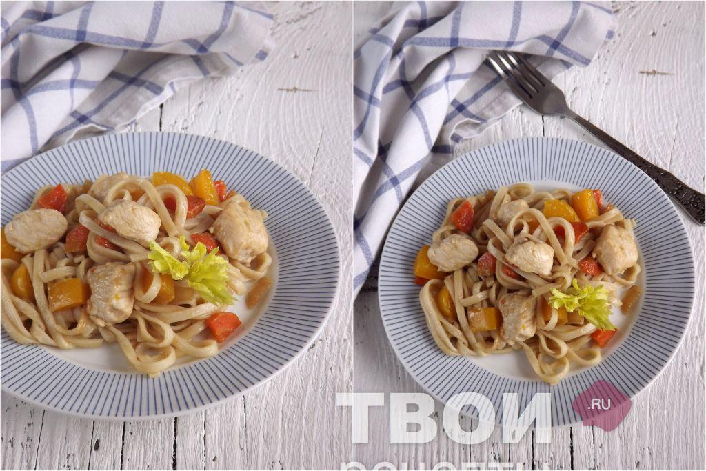 Лапша удон с курицей и овощами рецепт в мультиварке