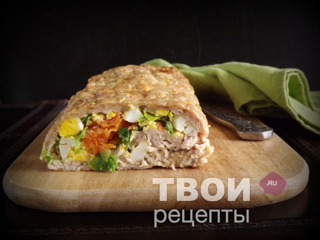 мясной рулет с луком и яйцом фото рецепт #3
