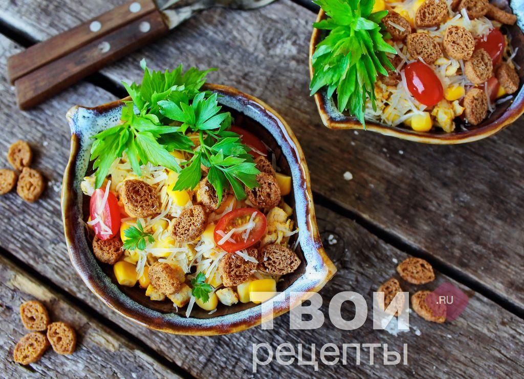 фото рецепт салат с кириешками рецепт с фото пошагово