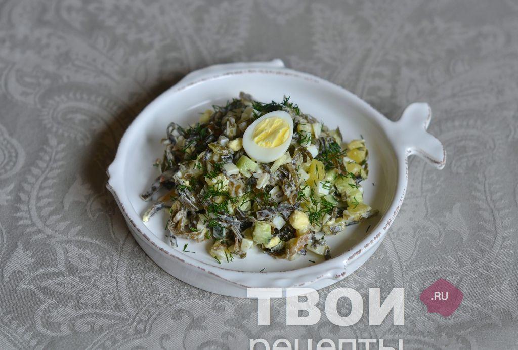 Салат из морской капусты рецепт очень вкусный с селедкой