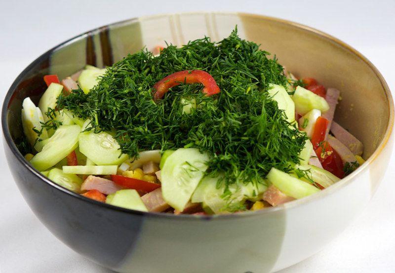 Рецепты салатов с пошагово с ветчиной