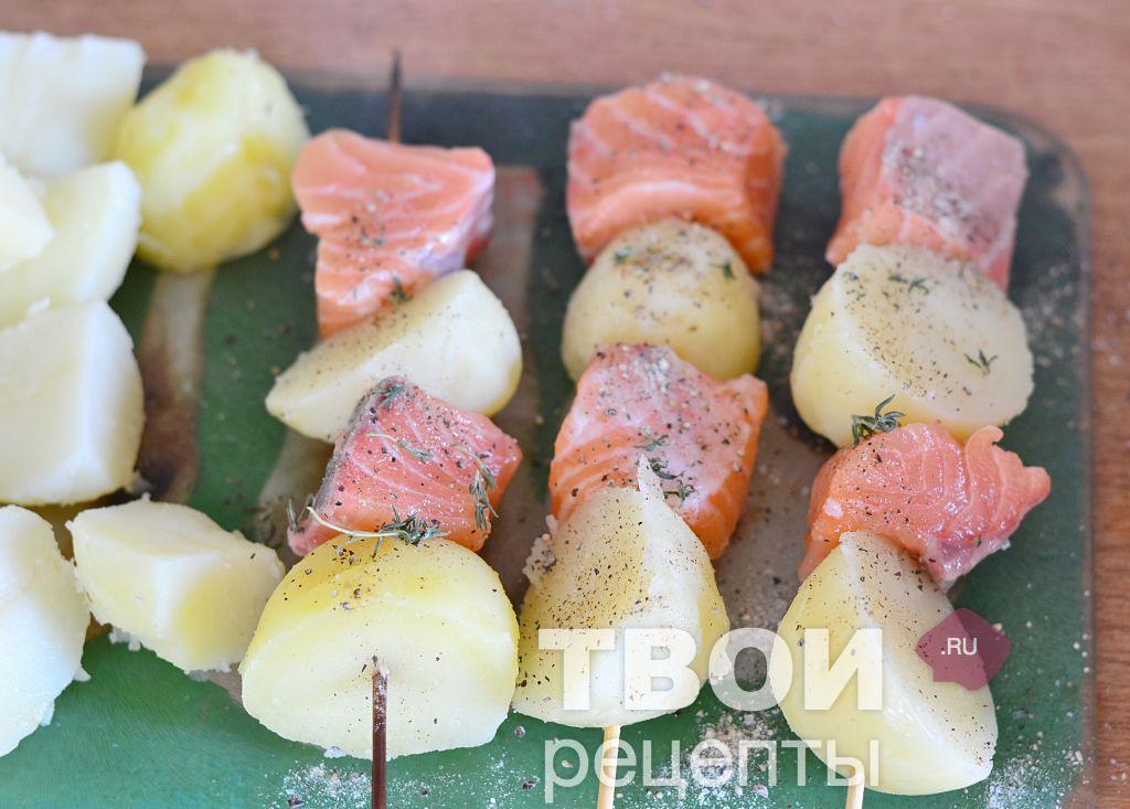 шашлычки на шпажках в духовке с фото из рыбы