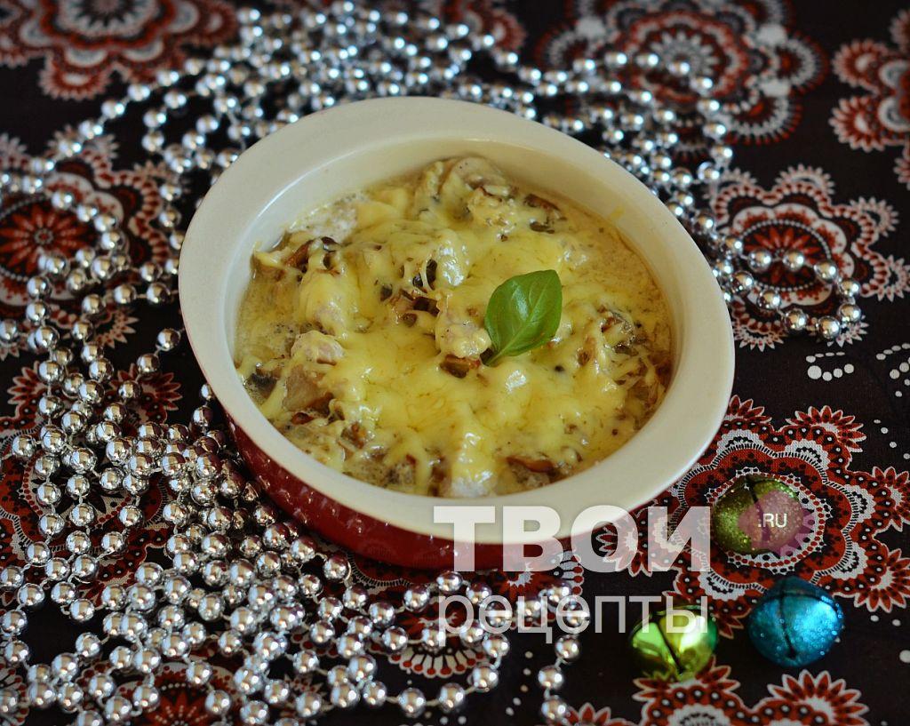 жульен с курицей и грибами со сливками рецепт с фото в духовке